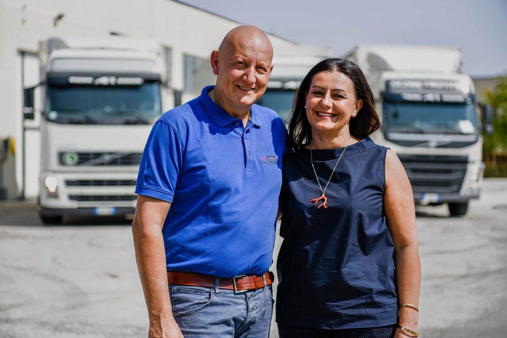 Saverio e Cinzia Rosini, titolari di Autotrasporti Rosini
