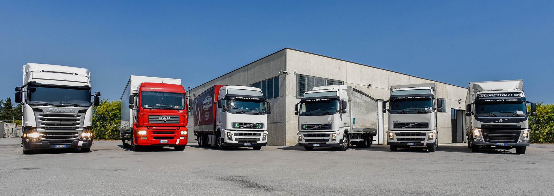 La flotta mezzi di Autotrasporti Rosini